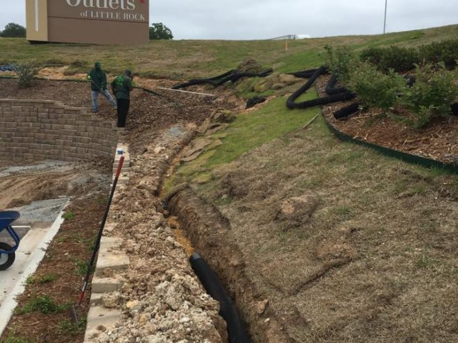Outlets of Little Rock French Drain Installation Before Photo