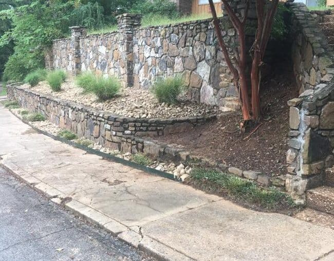 Mulch and rocks landscaping project in greater Little Rock After Photo