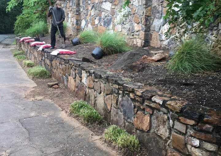 Mulch and rocks landscaping project in greater Little Rock Before Photo